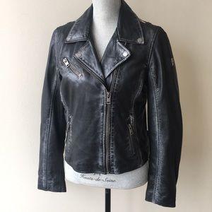 Mauritius Black Leather Moto Stars Jacket